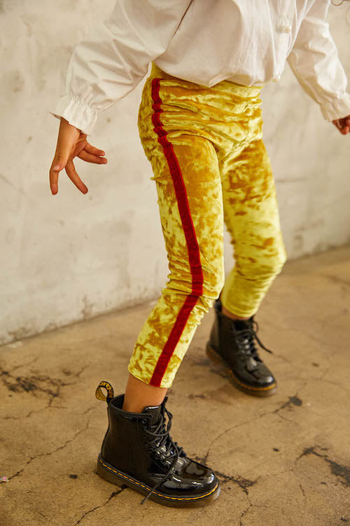 Lillie Mae Yellow Crushed Velvet Tuxedo Legging