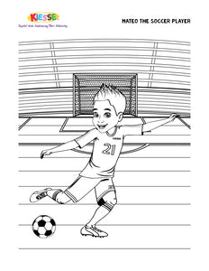 Mateo Soccer Player Coloring Page