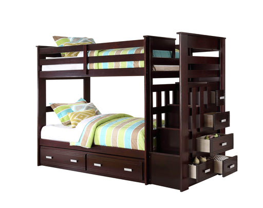 True Contemporary Bunk Bed Allentown Espresso Twin Over Twin Bunk Bed With Staircase