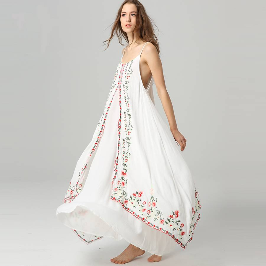 White Floral Patterned Boho Maxi Dress