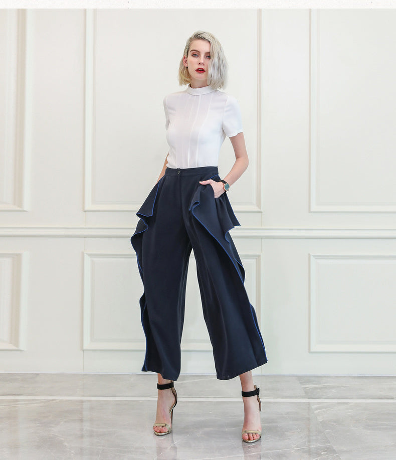 Heavy Silk Ruffle Trousers