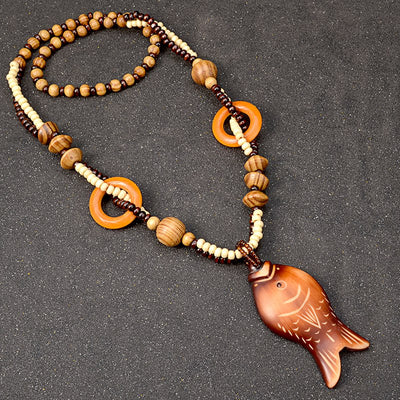 Ladies Fish Design Bohemian Long Necklace