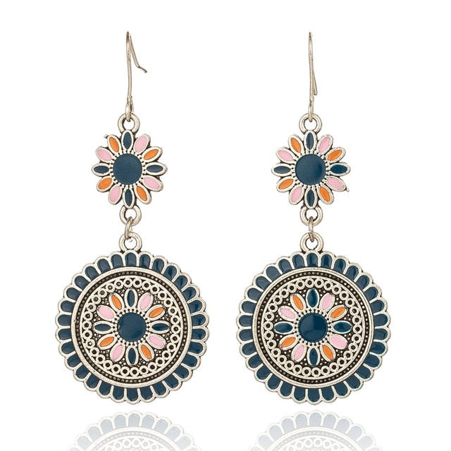 Vintage Ethnic Flower Earrings for Women