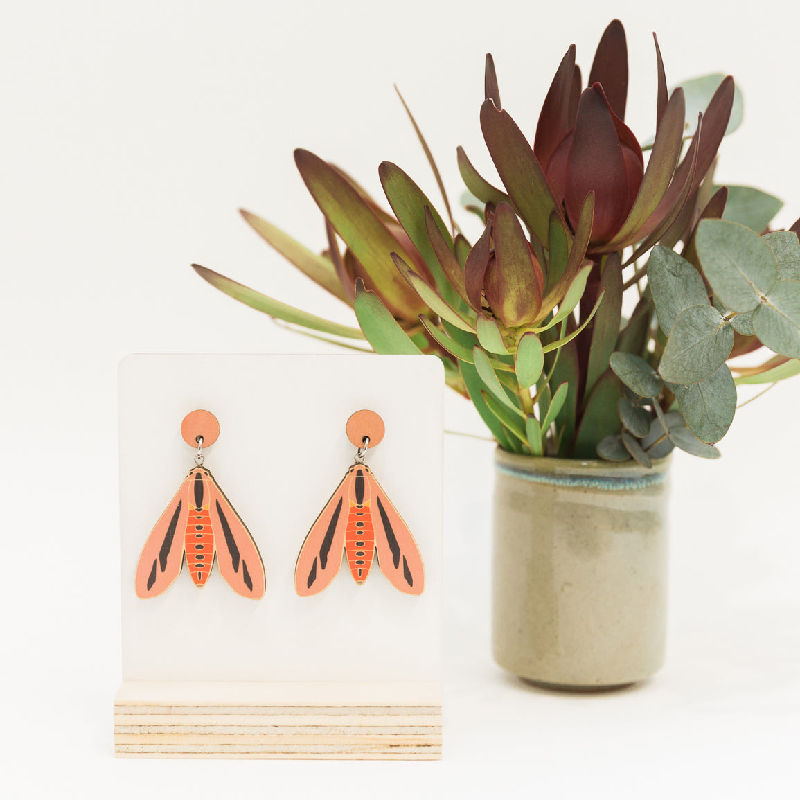 Creatonotos gangis pink Australian made moth earrings wooden jewellery