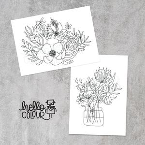 Hello Colour May Floral Colouring Pages Modern Florals Colour In| Sweet Petite