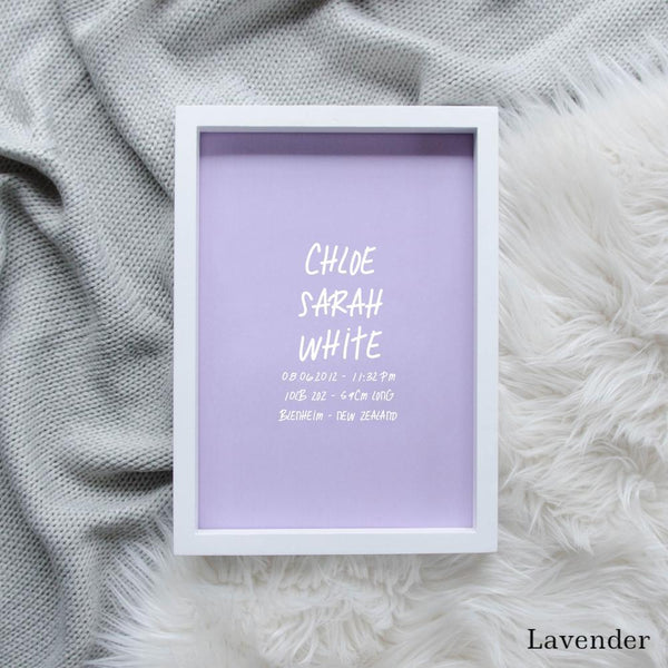 Sweet Petite | The Edgy baby birth announcement poster in lavender purple