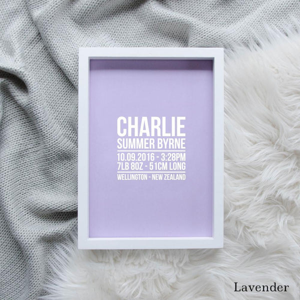 Sweet Petite | The Linear baby birth announcement print in lavender purple