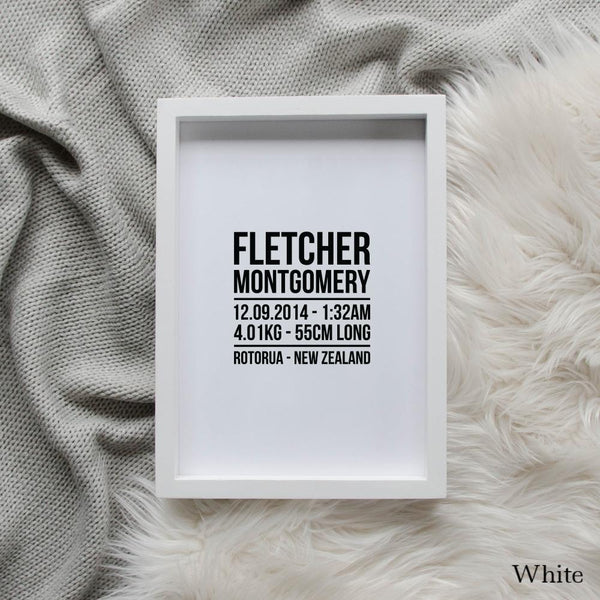 Sweet Petite | The Linear baby birth announcement print in white