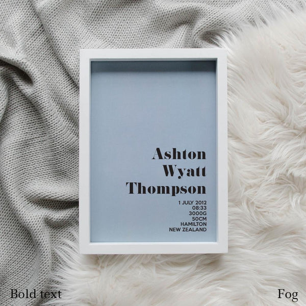 Sweet Petite | The Simplistic baby birth announcement poster in fog blue