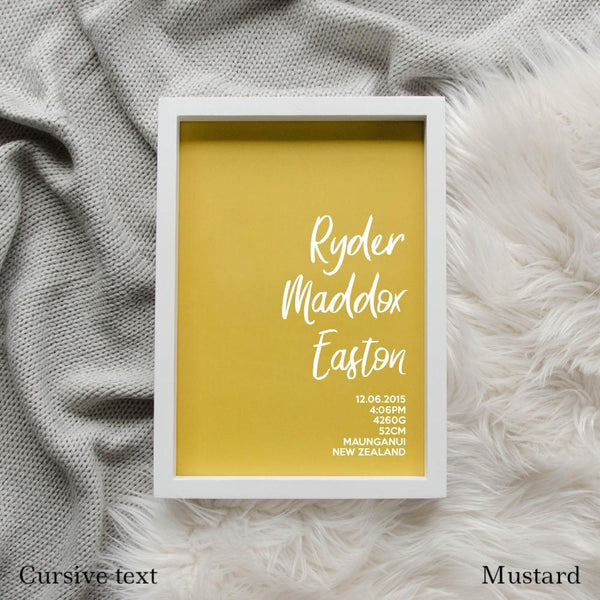 Sweet Petite | The Simplistic baby birth announcement poster in mustard