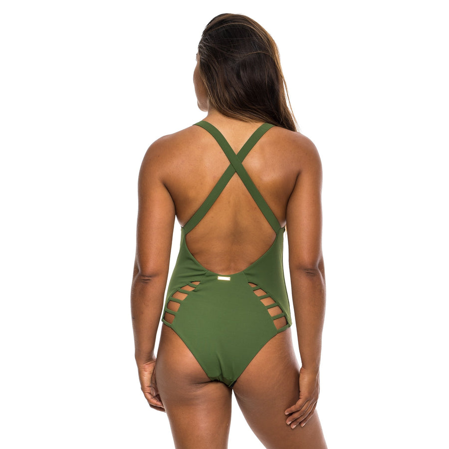 ONE PIECE OLIVE RIBBED