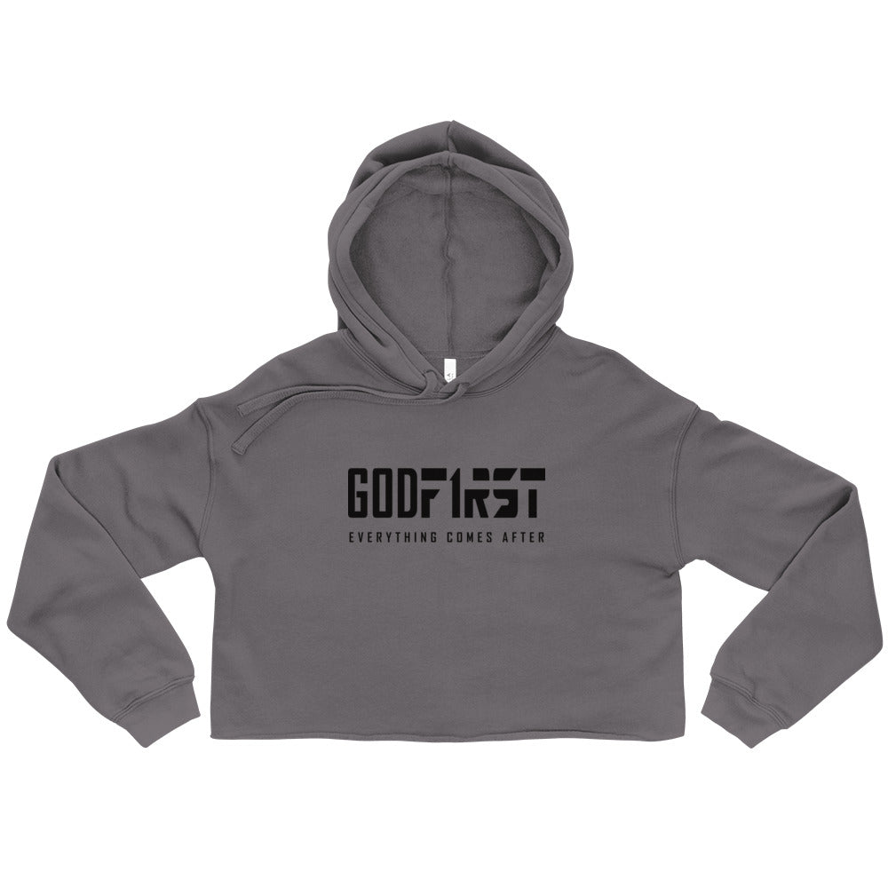 Grey God First design Black Lettering Cropped Hoodie