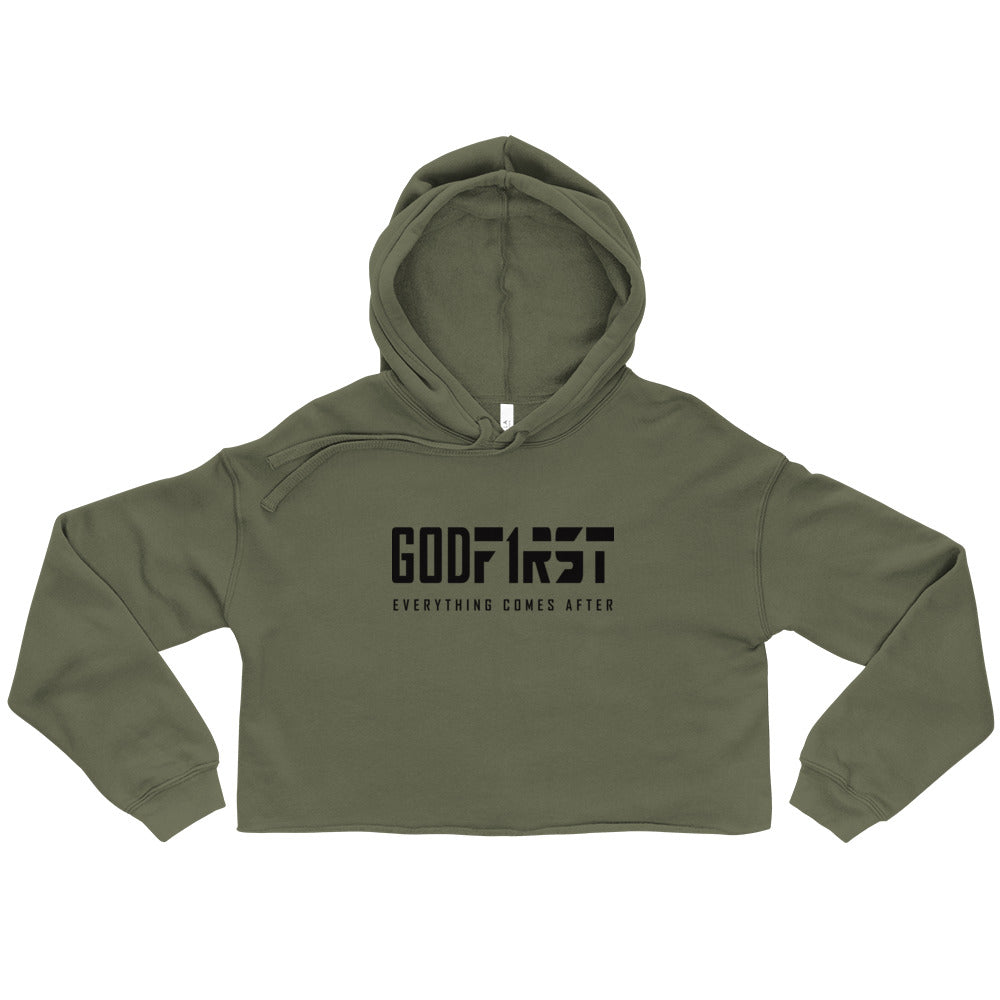 Green God First design Black Lettering Cropped Hoodie