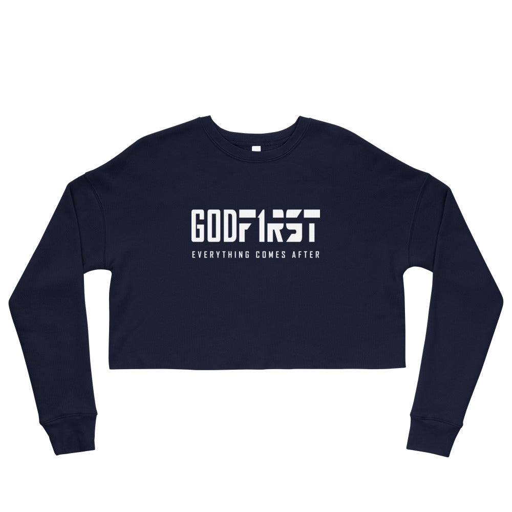 Navy God First design White Lettering Cropped Sweatshirt