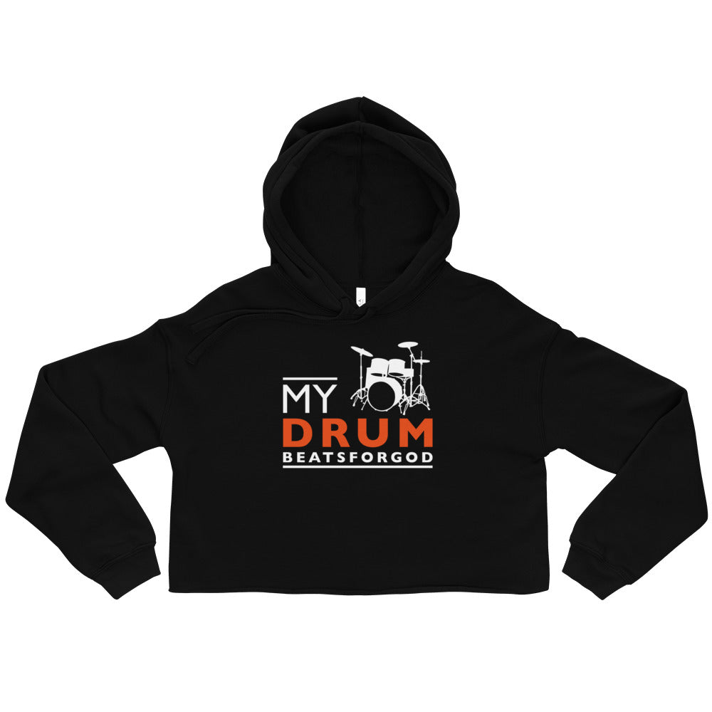 Black My Drum Beats Design Cropped Hoodie