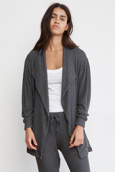 Rylea Cozy Rib Open Cardigan ~ Anthracite