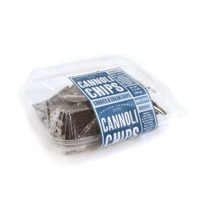 Golden Cannoli Bakery Style Cannoli Chip Clamshells, retail clamshell packs, cookies & cream cannoli chips