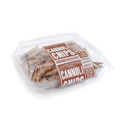 Golden Cannoli Bakery Style Cinnamon Sugar Cannoli Chip Clamshells, cinnamon sugar cannoli chips, large cannoli chips for sale