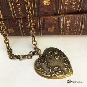 Heart Necklace Vintage Antique Brass
