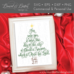 Scripture Christmas Tree Luke 2:11 SVG File - Commercial Use SVG Files