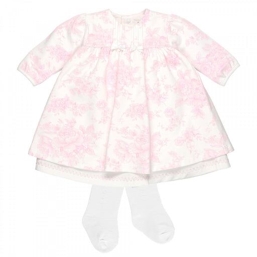 Emile et Rose Romana - Pink Floral Baby Dress with Tights