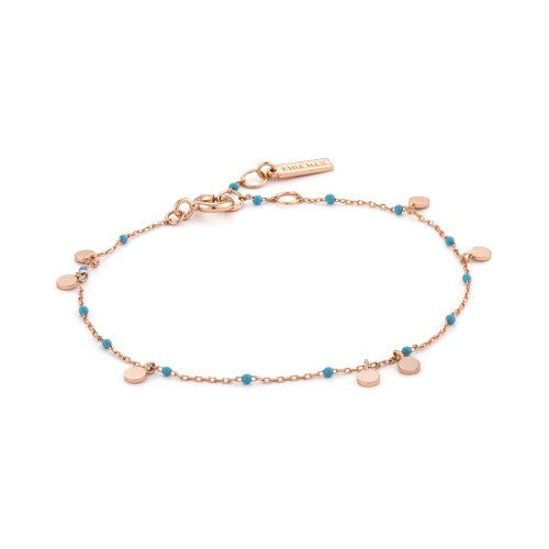 Ania Haie Dotted Drop Disc Rose Gold Bracelet