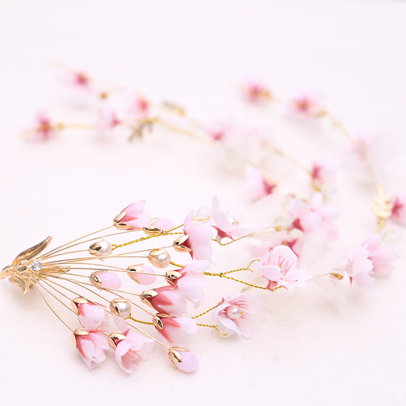 Jonnafe Pink Flower Hair Wreath For Wedding Prom Accessories Pearls Bridal Hair Vine Clip Women Headpiece