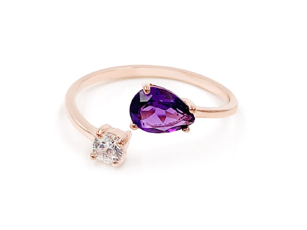 Serpentine Amethyst Rose Gold Ring - Shop The Fox