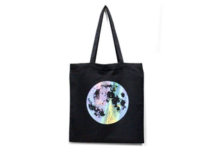 Holographic Full Moon Tote Bag in Black