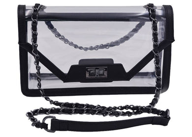 Clear Mama Envelope Bag in Onyx/Gunmetal