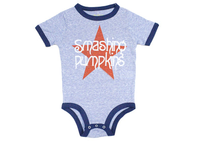Smashing Pumpkins Retro Blue Star Baby Onesie