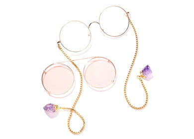 The Spectacular Spectacle Sunglasses in Rose Lens with Amethyst