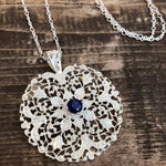 Sterling Silver Filigree with 1ct Sapphire Solitaire Necklace