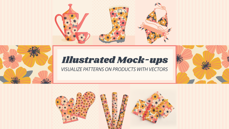 Illustrated Mock-ups: visualize patterns on products with vectors