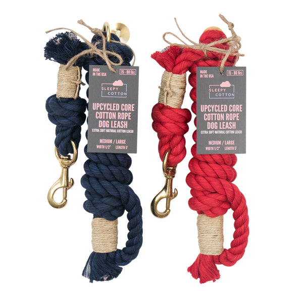 Upcycled Core Cotton Rope Dog Leash - Patriot Set