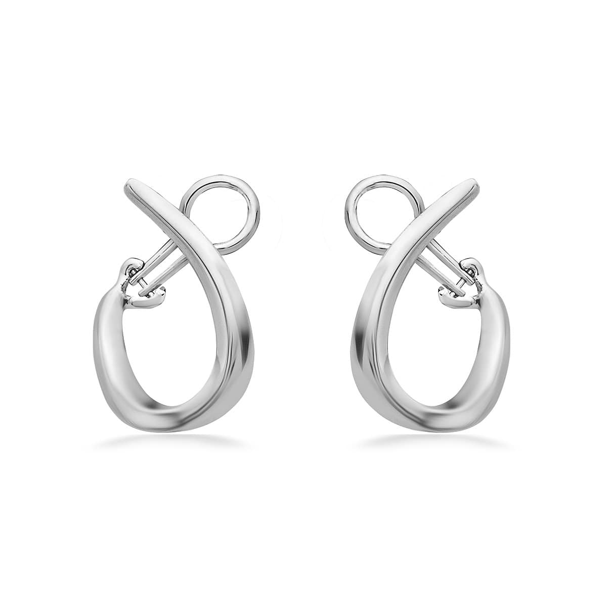 14K White Gold & Sterling Silver 26MM Hoop Earrings