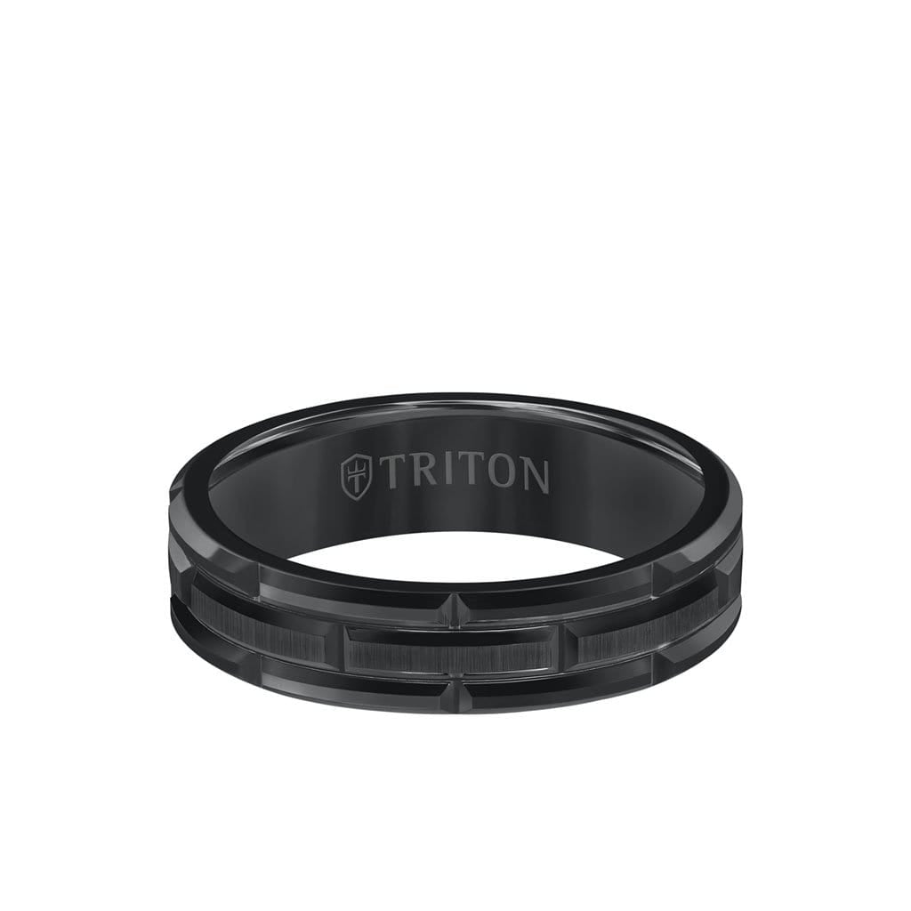 6MM Tungsten Carbide Ring - Brick Pattern Center and Bevel Edge