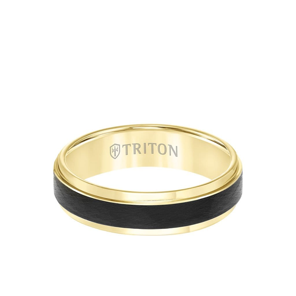 6MM Tungsten Carbide Ring - Black Crystalline Center and Bevel Edge
