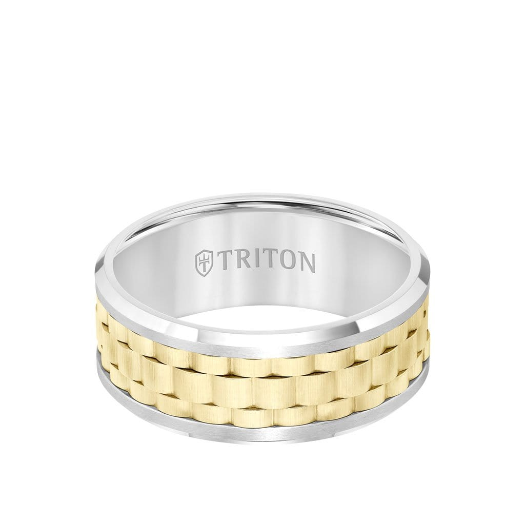 9MM Tungsten Carbide Ring - Basketweave Center and Bevel Edge