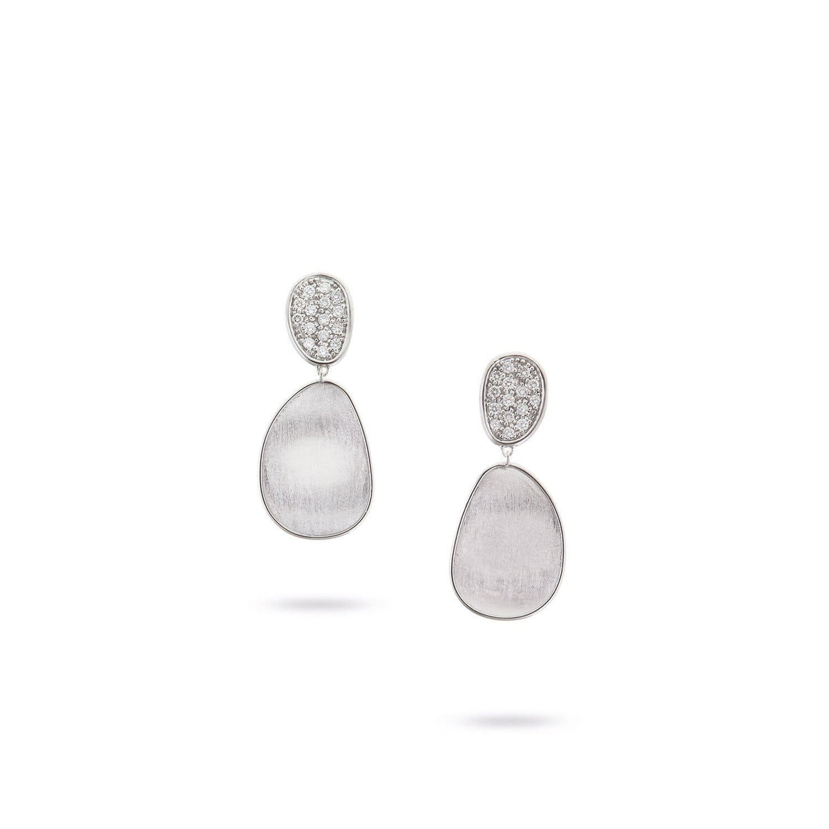 Lunaria White Gold & Diamond Pave Small Double Drop Earrings