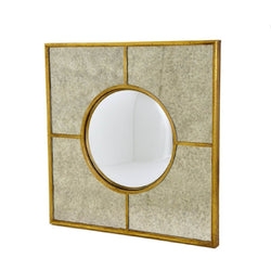 Axel Antiqued Gold Leaf Fisheye Mirror
