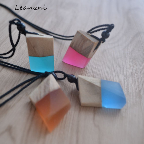 Hand-Made Wood Resin Necklace
