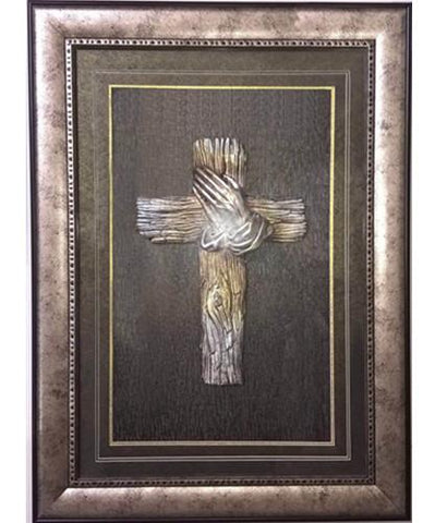 Hand and Cross 3D Wall Art with Frame 50x70cm
