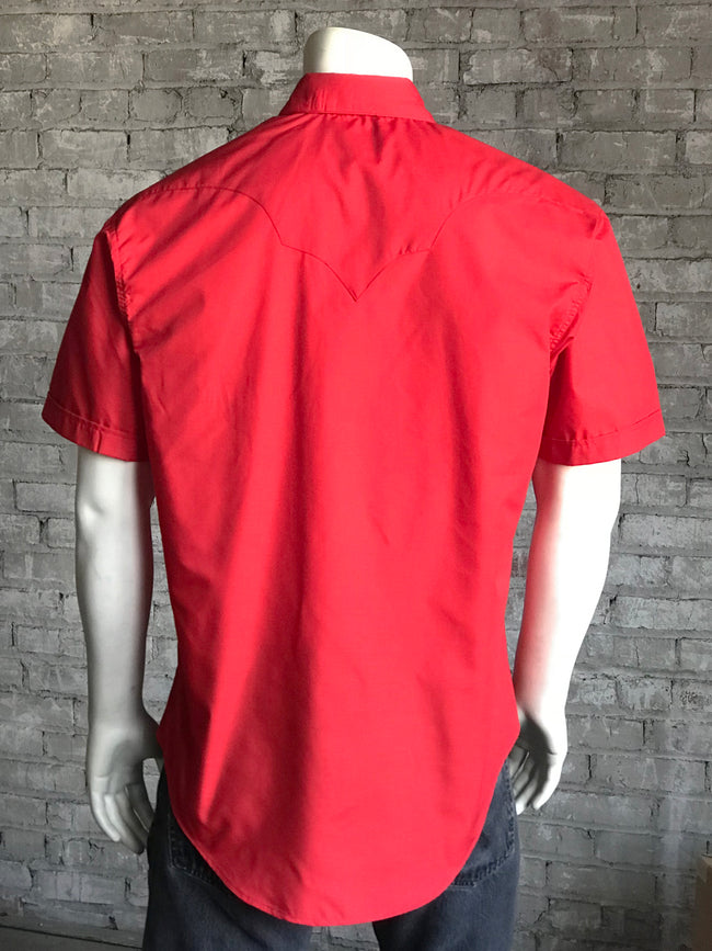 Solid Red Cotton Blend Short Sleeve Western Shirt