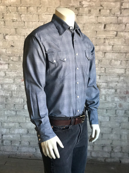 Men's Midnight Blue Shadow Plaid Western Shirt