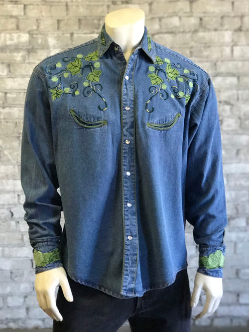Men's Hops Vintage Embroidered Denim Shirt - Rockmount