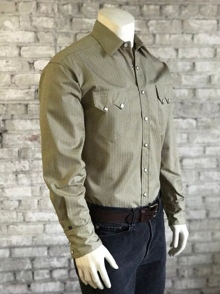 Men's Pima Cotton Herringbone Western Shirt