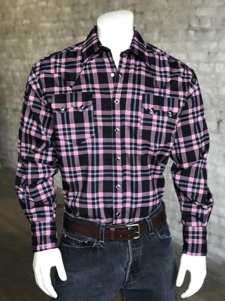 Men's Extra Fine Blue Windowpane Check Western Shirt
