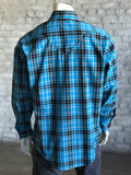 Men's Turquoise & Black Plaid Western Shirt