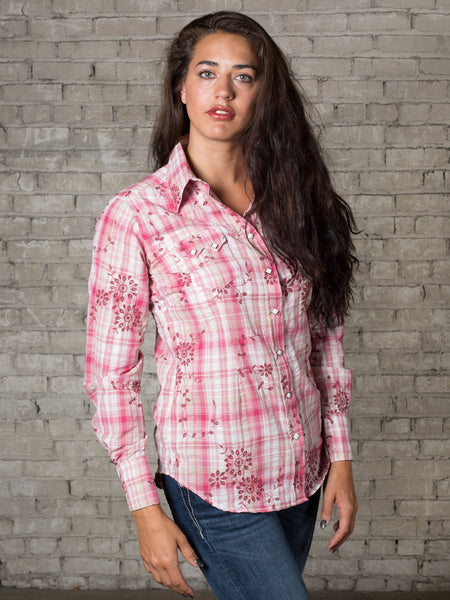 Women's White Eyelet Embroidery Cotton Western Shirt